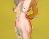 Original watercolor painting of Nude #1285 by Gretchen Kelly