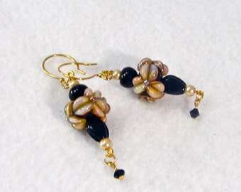 Floral Lampwork Earrings in taupe and black, flower earrings, wire earrings, lampwork dangle earrings, XannasJewelryBox, autumn earring