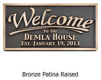Welcome Family Name Plaque custom gift 12 x 6 inches and made in the USA