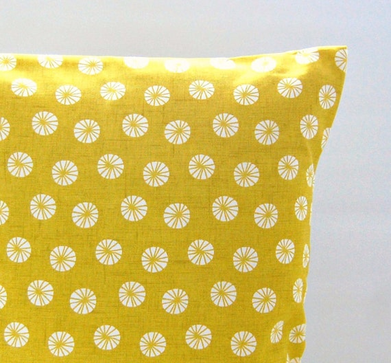 decorative pillow cover mustard yellow retro flowers 14 inch