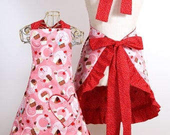 Reversible Apron with Pink Cupcakes Full Length Bib Style (Adult, Plus Size, Child, Baby or 18 inch doll)