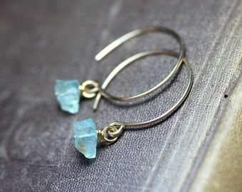 Aquamarine Earrings Blue Gemstone Earrings Gold Hoops Rough Nugget Rustic Jewelry