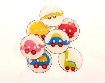 """7 Animal Toy or Animal Car Buttons. Handmade Decorative Novelty Buttons.  Knitting, sewing or crafting buttons. 3/4"""" or 20 mm."""