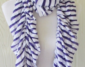 Ruffled Scarf, Women's Purple and White Stripe Scarf, Eclectasie
