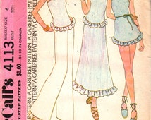 McCalls 4113 1970s Misses Micro Mini Dress Scoop Neck Top and Maxi Skirt Pattern Ruffled  Womens Vintage Sewing Pattern Size 6 Bust 30 UNCUT
