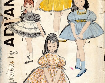 Advance 9568 1960s Toddlers Dress and Hostess Apron Pattern Full Gathered Skirt  Sew Easy  Girls Vintage Sewing Pattern  Size 2 Breast 21