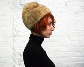 vintage 60s light brown sculptural mink fur hat