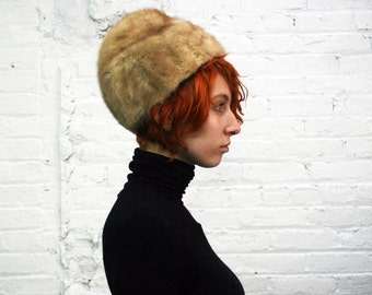 vintage 60s light brown sculptural mink fur hat