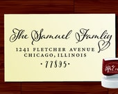 Calligraphy Handwriting Script Custom Return Address Stamp - Personalized SELF INKING Wedding Stationery Stamper - Style 1280Z
