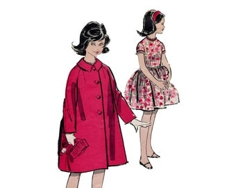 1960s Girls Dress and Coat Pattern Full Skirt Dress and Tent Coat Party Dress Easter Sunday Advance 9650 Size 8 Vintage Sewing Pattern