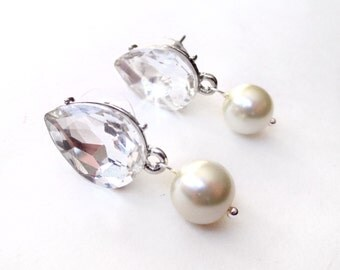 Stunning Rhinestone Teardrop Earrings - Ivory or White Pearl - Silver