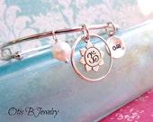 Bangle bracelet with Lotus charm, Lotus bracelet, Yoga jewelry, Zen, bhuddist, om, tranquil, layering bracelet, stacking bracelet