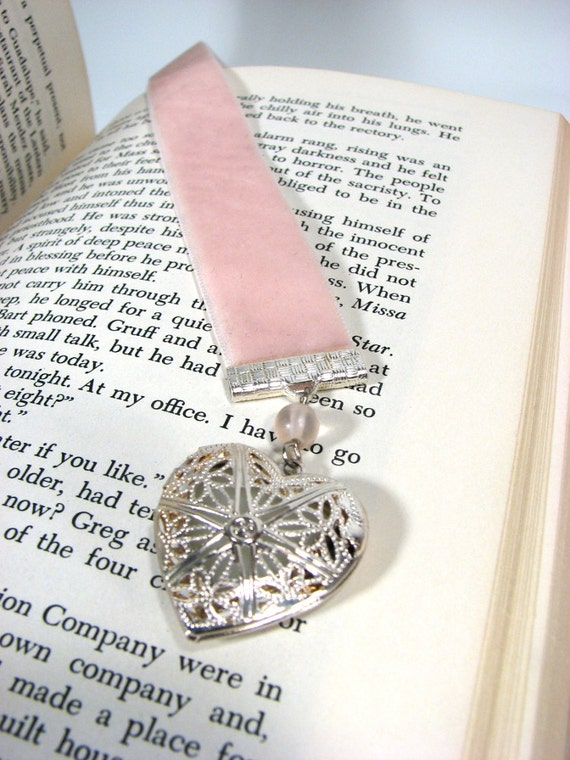 Ribbon Bookmark Perfume Heart Shape Locket Pink Ribbon Lavender Silver Key Charm Beads Free US Shipping