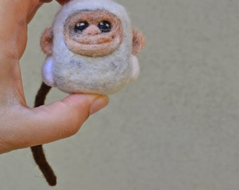 Needle Felted Tiny Cashmere Monkey Toy Ready to Ship