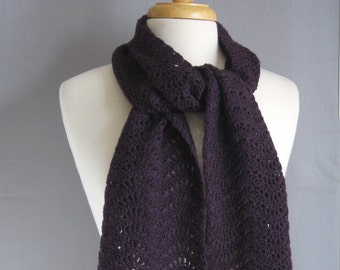 Women's Merino Wool Scarf in Eggplant Purple, Dark Purple Eco-friendly Scarf, Pure Merino Wool