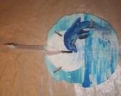 Dolphin, ornament, sand dollar, painted, blue, moon, jumping dolphin, handpainted sand dollar,