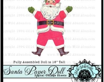 Santa Claus Vintage, Printable, Printable Christmas Decoration, Vintage Printable Santa Claus Paper Doll
