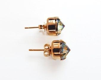 Rainbow pointed post earrings - crystal earrings - Swarovski crystal - crystal studs - rainbow crystal studs - pointed studs