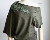 Women's cotton tshirt/ loose fit top / off-shoulder top / shredded tshirt - KT567
