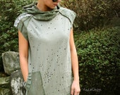 Loose fitted hooded tunic / hooded dress / long hoodie/ hoodie tunic / boxy dress / military - KD190