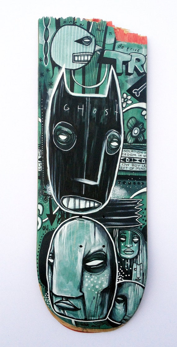 Black Ghost Story - Original Art on Broken Skatedeck