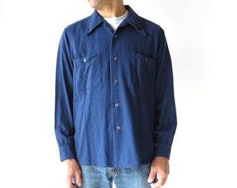 Vintage Pendleton Shirt / 70s Men's Shirt / Blue Shirt / Large L