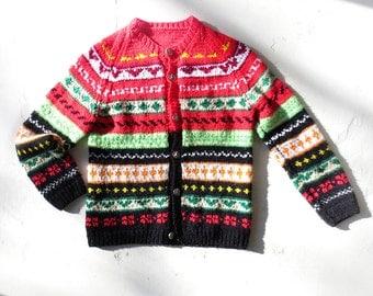 Fair Isle Cardigan / Solstice Festival Sweater / 60s Sweater / Medium M