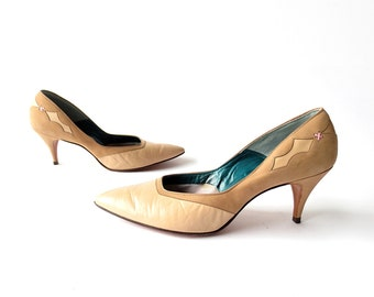 Vintage 1950s Heels | Nougat Leather Pumps | 50s Shoes | Size 8
