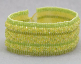 Lime Green Yellow Beaded Cuff Bracelet / Simple Elegant Peyote Beadwork Jewelry by randomcreative on Etsy