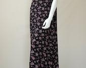 Vintage 90s Black Floral Print Draped Grunge Boho Deep Armholes Jumper Maxi Dress  (one size)