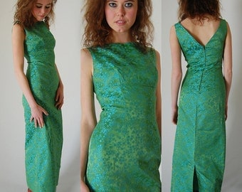 Asian Brocade Gown Vintage 60s Sage and Aqua Floral Brocade Sleeveless Asian Gown (xs)