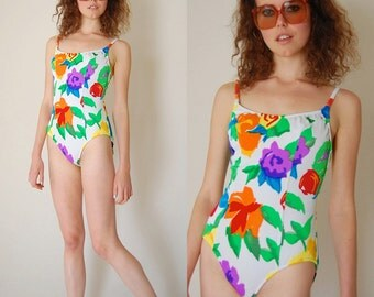 Summer Bathing Suit Vintage 70s Summer Poppy Floral One Piece Swimsuit (s)