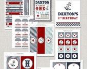 Printable Nautical Anchors Away Birthday Party Collection - DIY