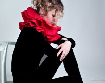 Red ruffle scarf Elegant wavy nuno felted shawl Scarlet red statement wearable fiber art Wool shawl Made to order woolen wrap