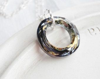 Swarovski Crystal Necklace - Cosmic Ring  - Jupiter