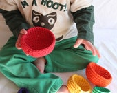 mini roygbiv nesting bowls for montessori play by yourmomdesigns eco friendly upcycled t-shirt yarn