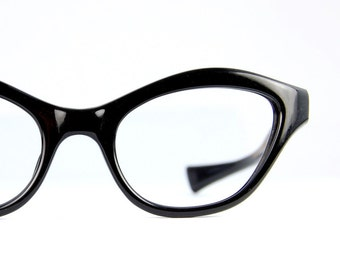 French Black Cat Eye Sun/Eyeglasses Bold Browline NOS Vintage 1950s  Mad Men Chic Frame France  44/ 20