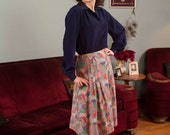 Vintage 1940s Skirt - Vibrant Novelty Print Cotton A Line 40s Skirt with Patchwork Quilt Print