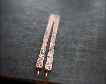 Etched Oxidized Copper Stick Earrings Tribal Boho Metalwork Jewellery