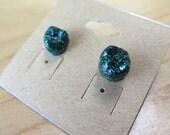 Emerald Ocean Glitter Tooth Earrings-OOAK Limited Edition