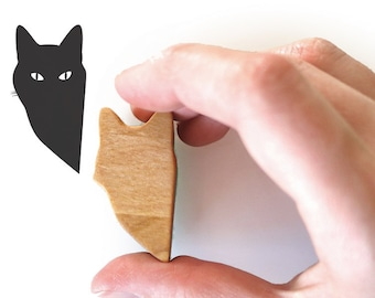 Cat Stamp, Wooden Peeping Tom Cat Stamp for Scrapbooking