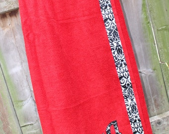 Red - Spa Wrap Towel with SNAPS - Graduation / BRIDESMAIDS / Girls Trip Gifts / New Mom