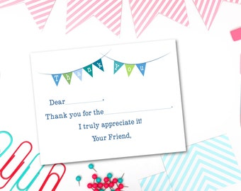 Printable Thank You Cards - Fill in the Blank - All Boy Colors