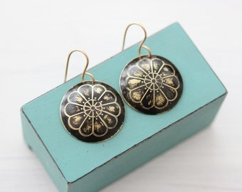 Black Bohemian Flower Earrings with Gold Filled Hooks Hand Etched And Domed Brass Earrings