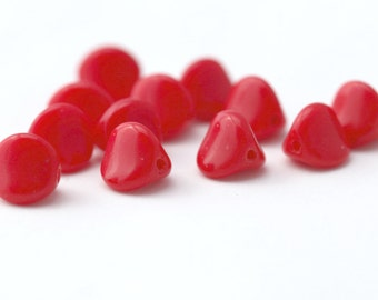 Vintage Red German Glass Pinch Triangle Beads 8mm (10)