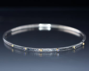 Textured Sterling Silver Bracelet Ceylon Sapphires in 18k gold Setting and Gold Accents Thin Oxidized Bangle
