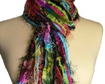 Tutti Frutti - Knotted Scarf All Fringe Scarves Womens Scarf - Shades of Black, Lt Blue, Fuschia and Lime Green