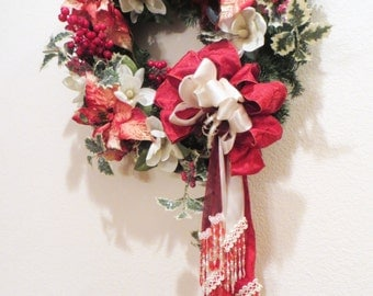Victorian Christmas Wreath Home Decor in Red and White Poinsettias with Detailed White Pearl Beaded Fringe and Fancy Trim Bow ready to ship