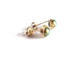 Sea Foam Green Swarovski Crystal Pearl Tiny Stud Earrings Handmade, rolled gold filled, wire wrapped, post earrings