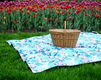Picnic Blanket- Summer Garden Floral in Aqua- Waterproof Picnic Blanket, Personalized Gift